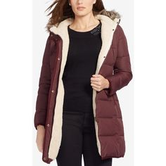 Lauren Ralph Lauren Plus Size Faux-Fur-Trim Down Puffer Coat, ($170) ❤ liked on Polyvore featuring plus size women's fashion, plus size clothing, plus size outerwear, plus size coats, dark red, quilted puffer coat, puffer coat, faux fur trim coats, quilted down jackets and quilted coat