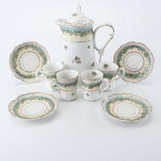 Carl Tielsch Altwasser Porcelain Chocolate Service c. Chocolate Pots, Cup And Saucer, Art Decor, Cups, Fashion Accessories, Porcelain, Pottery, Ceramics, Tea