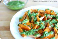 Roasted Sweet Potatoes with Parsley Lemon Pesto