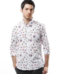 Doublju Shirt with Geometry Print (KMTSTL0236) #doublju