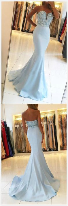 Sweetheart Neck Prom Dresses,Cheap Prom Dress,Strapless Prom Dress,Beaded Prom Dress,Mermaid Prom Dresses,Light Blue Prom Dress