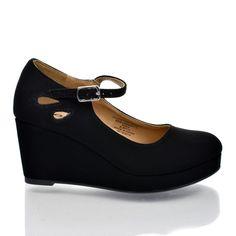 TyleeIIS Black Nubuck Pu Children's Girls Almond Toe Mary Jane Platform Cut Out Dress Wedge Heel