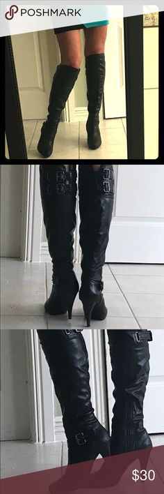 Guess black boots Gorgeous tall black Guess brand boots . Pair with skirt or sexy tight jeans for a sassy look. Pre-loved in great condition! Approximately 3 inch heel with a hidden platform toe for comfort ! Guess Shoes Heeled Boots