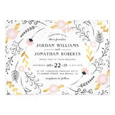 Hand Drawn Floral Border | Pink & Gold Wedding Magnetic Card - gold wedding gifts customize marriage diy unique golden