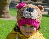Teddy Bear Hat - PDF Crochet Pattern - 7 sizes ( Newborn to Adult ) - Beanie Hat Baby Child Adult Accessorie