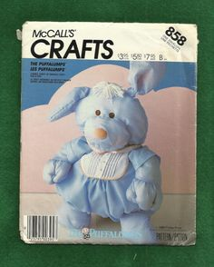 Vintage 1987 McCalls 858 Puppy Dog  Puffalump  by DaisyMaeandMe, $6.75