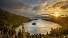 Jezioro, Las, Zachód Słońca, Wyspa