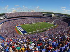 Orchard Park, New York Ralph Wilson Stadium is where the Buffalo Bills pack in 71,870 screaming fans. Located in Orchard Park, New York, the venue was designed by HNTB in 1973 and renovated by Populous in 2013.