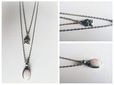 ◥ Colar duplo / 2 layers com medalhão em Quartzo Rosa