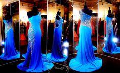 Blue One Shoulder Jersey Formfitting Evening Gown-115JC0544200398
