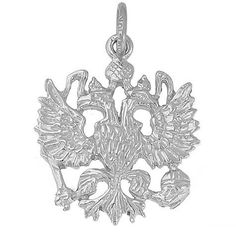 Russian Eagle Charm $34.50 http://www.charmnjewelry.com/category/sterling_silver/Animal_Charms.htm #RembrandtCharms #CharmnJewelry #SilverCharm