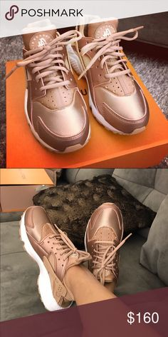 Nike Rose gold huaraches 6 Worn a few times. Look new. Size 6 but runs a tad small. Super nice kicks. Sold out very quickly. Lower on other app Nike Shoes Athletic Shoes