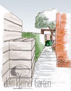 Perspektive Lange Achse in einen langgestreckten #Garten Mondrian, Pergola, Abstract, Artwork, Sand Table, Perspective, Summary, Work Of Art, Pergolas