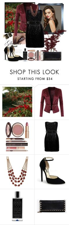 """Untitled #504"" by misaflowers ❤ liked on Polyvore featuring Kerr®, LE3NO, Charlotte Tilbury, Balmain, Lucky Brand, Agonist and Valentino"