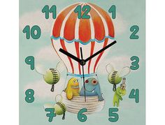 Children /nursery wall clock - The hot air balloon. Pituda's wall clock is a great gift for baby shower or just to decorate your kids room - 26$  www.etsy.com/shop/Pituda