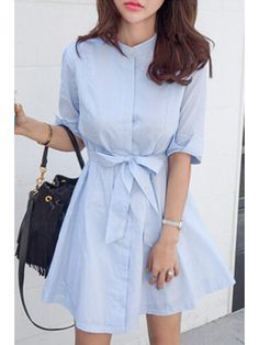 Blue Stripe Stand Neck Half Sleeve Dress - LIGHT BLUE S Mobile