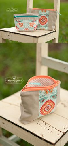 Super cute cosmetic cases - loving these colors together!