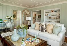 benjamin moore tranquility is a soft subtle blue green paint colour.  Best for beach look or relaxing spa