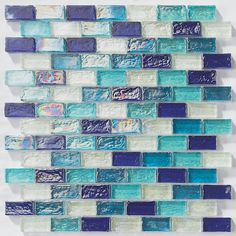 Iridescent Pool Glass Tile Ocean Blend 1x2 for swimming pool, shower walls, backsplash, Jacuzzi, and spa. Made with translucent glass for a better reflection effect under water.