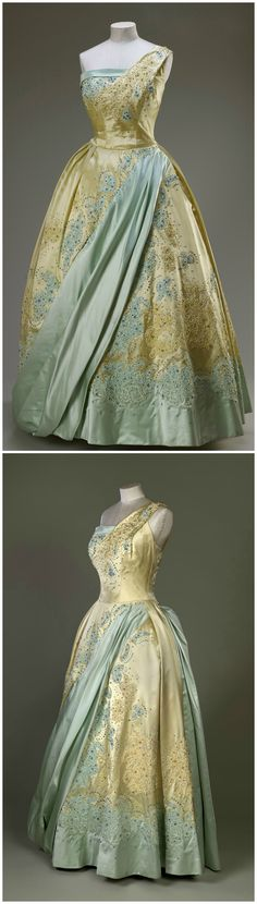 Evening gown, by Sir Norman Hartnell. Worn by H.M. Queen Elizabeth II on a state visit to the Netherlands in 1958. Royal Collection Trust/All Rights Reserved.