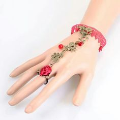 European and American magazine sweet vintage red lace bracelet wristband jewelry the bride bridesmaid banquet party Cheap Bracelets, Bangle Bracelets, Diy Lace Gloves, Lace Bracelet, Pearl And Lace, Bangle Set, Wedding Jewelry Sets, Red Flowers, Beautiful Rings