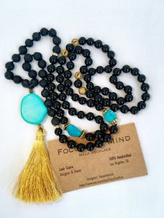 Mala necklace Onyx lava rock turquoise with by LDTcreative on Etsy