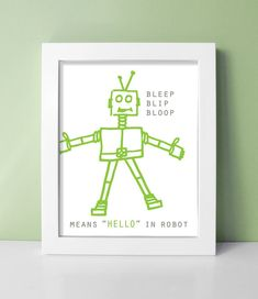 Robot Nursery Print - Baby Boy Robot Decor - Robot Art 8x10 Kids Room Robot Wall Art - Pewter / Leaf Green Shown