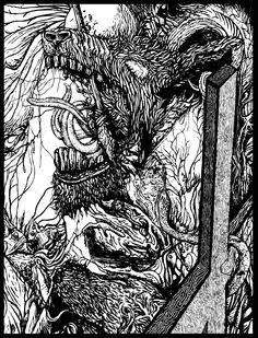 Malediction, illustration and album cover for Nisroch #art #design #2012 #illustration #blackandwhite #pen #albumart #searinglimb