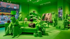 virgil abloh and louis vuitton colorize every inch of NYC pop-up in neon green Tienda Louis Vuitton, Louis Vuitton Store, New York City, New York Street, Lower East Side, Virgil Abloh Louis Vuitton, Green Furniture, Retail Concepts, Museum Of Contemporary Art