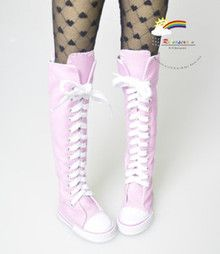 SD Dollfie Shoes Thigh-Hi Lace-Up Sneakers Boots Pink