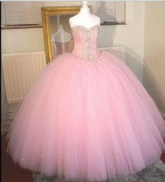 Luxury Pink Ball Gowns Crystal Quinceanera Dresses Vestidos De 15 Anos 2016 Sweetheart Tulle Floor Length Party Prom Dress(China (Mainland))