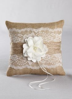 Rustic Garden Ring Pillow- Rustic burlap and lace ring bearer pillow with a satin and beaded flower embellishment. Rustic Wedding, burlap wedding.