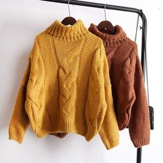 Sweaters Women's Autumn Winter Thickened Knits Korean Style Turtlenek Neck Short Wear Lazy Wind Pullover Tops Beige Brown-in Pullovers from Women's Clothing on Mode Outfits, Fashion Outfits, Casual Outfits, Fashion Fashion, Casual Wear, Winter Stil, Sweater And Shorts, Korean Fashion, Winter Outfits