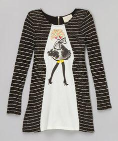 Black & White Stripe Fashion Girl Dress - Girls