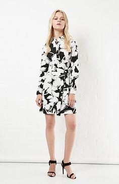 Diane Von Furstenberg Cotton Taffy Shirt Dress in Black / White 0 - 10 | DAILYLOOK