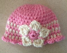 Knit Hats for Newborn, Child, Girl, Crochet Off White or Pink, Baby Hat, Flower BEANIE, Soft, Warm, Baby Gifts for Girls JE475B12