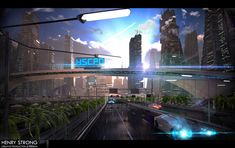 Future Rain Sci Fi City Concept by Henry Strong Future City, Cyberpunk, Sci Fi Stadt, City Rain, Sci Fi City, Star Trek Tv, Futuristic City, New Earth, Matte Painting