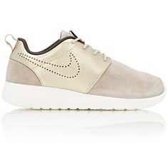 Nike Women's Roshe One Premium Sneakers ($100) ❤ liked on Polyvore featuring shoes, sneakers, gold, nike footwear, lace up shoes, mesh shoes, lacing sneakers and metallic gold sneakers