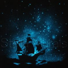 Glow in the Dark Star Poster  Caravel  Ship on the by StellaMurals, $80.00