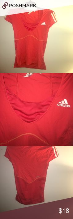 Adidas workout top Orange red color  adidas workout top with mesh and neck and back . Keeps you cool and dry Adidas Tops