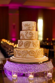 Wedding Planners - Eventrics | Wedding Event Design - Occasions by Shangri-La | Cake - Sprinkles Custom Cakes | Photographer - Jensen Larson Photography | Venue - Grand Hyatt Tampa | Indian Wedding Reception | Indian Wedding Cake