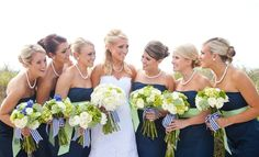 Navy bridesmaid dresses // Maria Glassford Photography // http://www.theknot.com/submit-your-wedding/photo/b0a94f48-7131-466c-be88-367e2d989acf/kyndra-kyle