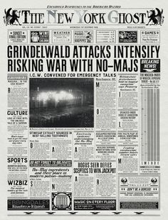 Here's a close-up copy of 'The New York Ghost' paper that appears in the 'Fantastic Beasts' opening.