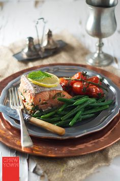 "HEALTHY FOOD - ""Herb Baked Salmon by chewtown: Astonishingly good with minimal effort. Fancy enough as a go to recipe for a dinner party and easy enough for a great healthy and quick mid week meal. Baked Salmon Recipes, Fish Recipes, Seafood Recipes, Cooking Tips, Cooking Recipes, Healthy Recipes, Good Food, Yummy Food, Seafood Dishes"