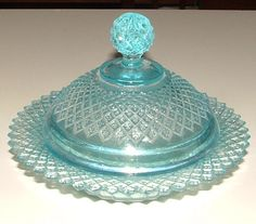 Depression Glass  ICE BLUE Miss America BUTTER Dish & LID