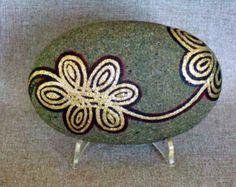 Dipinto arte Zen Rock turchese oro & argento di IshiGallery