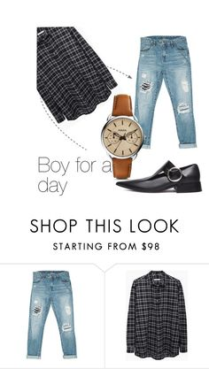 """""""Boy for a day"""" by chantal-07 ❤ liked on Polyvore featuring Sans Souci, 6397, FOSSIL and boyfriendjeans"""