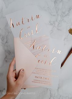 rose gold foil vellum wedding invitation cards # Weddings invites March New Arrivals: 10 Affordable Wedding Invitations from Elegant Wedding Invites Acrylic Wedding Invitations, Affordable Wedding Invitations, Elegant Wedding Invitations, Wedding Invitation Cards, Wedding Stationery, Wedding Cards, Wedding Planner, Wedding Card Design, Invitation Suite