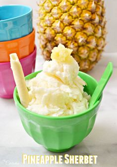 Adapted from a vintage recipe, this Pineapple Sherbet is a bit like frozen custard and so easy to make! No machine needed! Recipe at littlemisscelebration.com