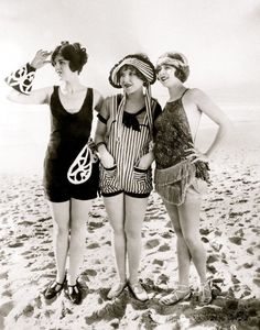 Three Mack Sennett Bathing Beauties on Venice Beach c.1925  via Gettyimages.com - (hva)